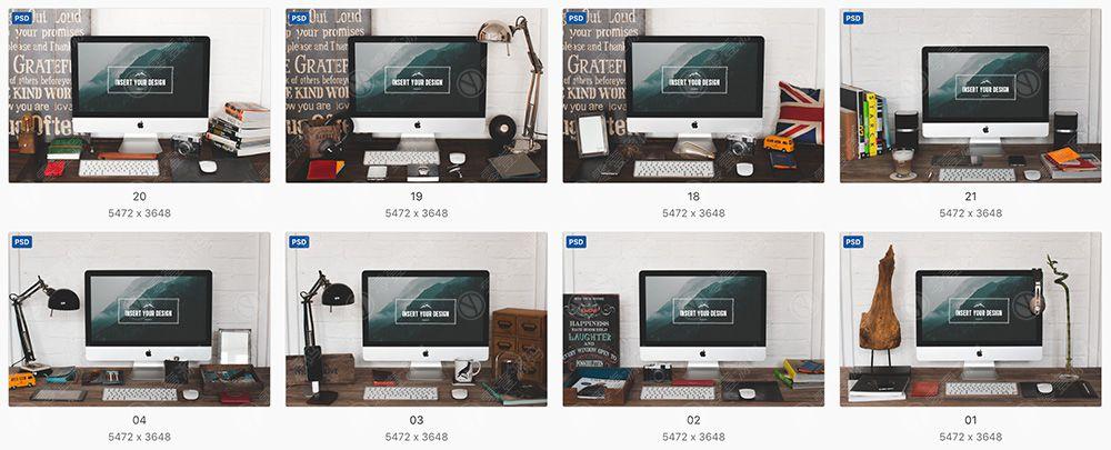 iMac苹果一体机电脑样机模型素材psd源文件