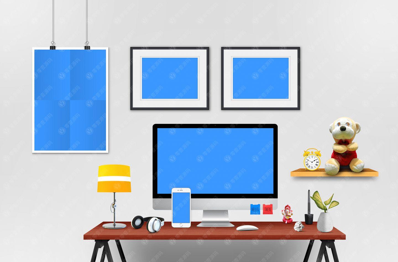 创意工作台mac海报展示样机模型素材psd源文件