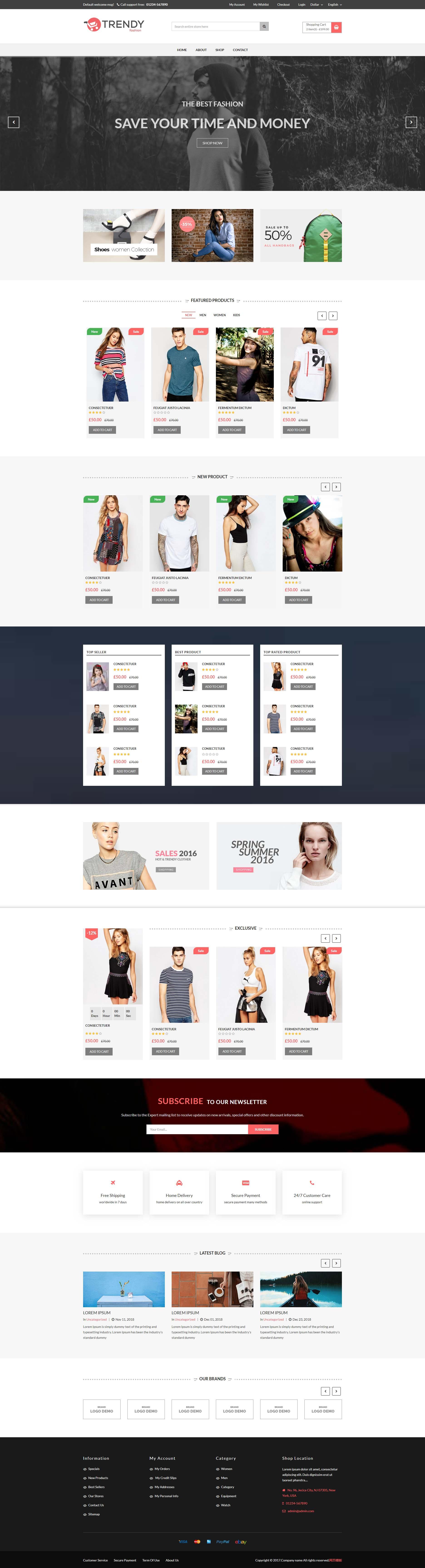 黑色简洁的时尚服装购物商城html5模板