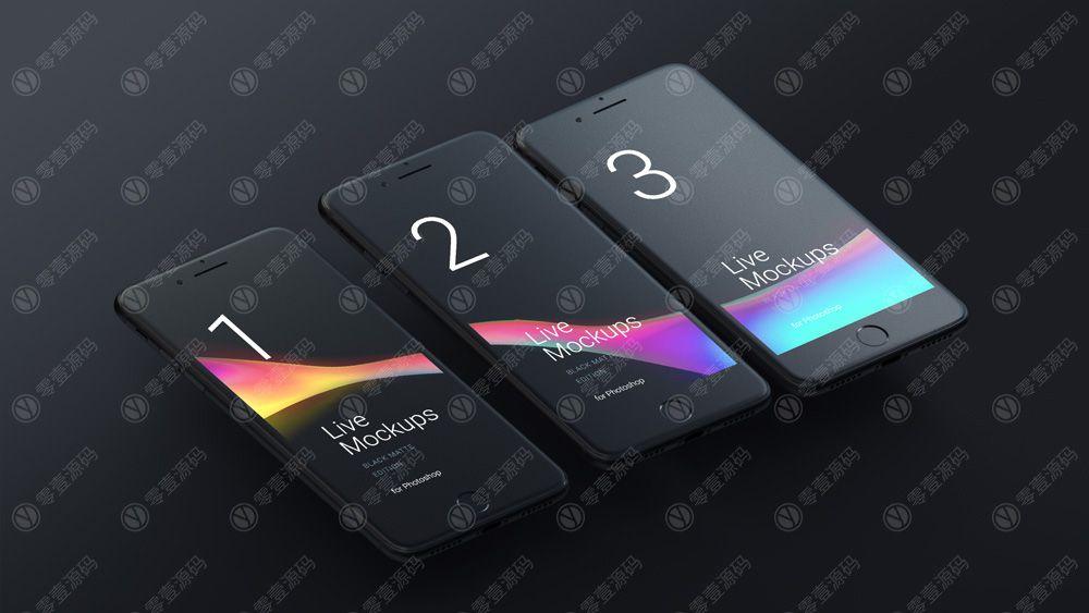 黑色iPhone6灰模手机样机模型素材psd源文件