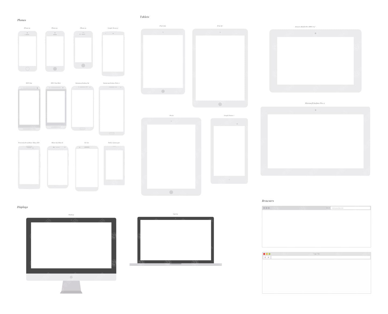 UX Kits Devices线框苹果设备组合样机